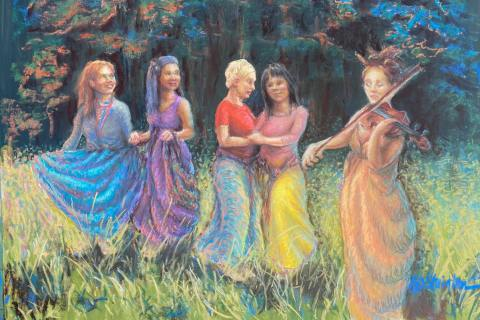 64-Nancy-Stainton-Mban-Rince-ladies-dancing-Mban-Rince-Women-Dancing-20x16-soft-pastel-400-min